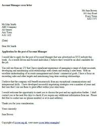account manager cover letter example universal cover letter samples