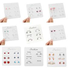 <b>6 Pairs</b>/<b>set</b> A Week Earrings 2019 Cute Silver Stud Earrings <b>Set</b> For ...