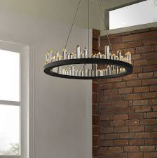 "<b>Modern</b> Crystal Style 15 3/4"" Wide <b>LED Round Chandelier</b> in Black ..."