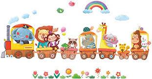 DECOWALL DS-8024 <b>Animal Trains</b> Kids <b>Wall Stickers Wall Decals</b> ...