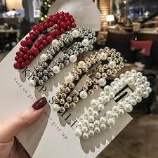 <b>2019 Fashion</b> Crystal <b>Pearl</b> Hairpin Barrettes Hairgrip Geometricr ...