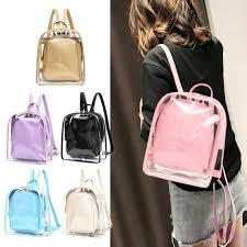 NT  <b>2pcs Women Transparent</b> PVC Backpack Casual Girls Travel ...