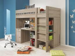 interior brown wooden loft bed built in study furniture