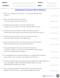 Word Problems Worksheets   Dynamically Created Word ProblemsMultiplication and Division Word Problems Using 1 Digit