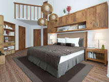 bedroom loft style with wooden furniture and white walls stock photography bedroom loft furniture