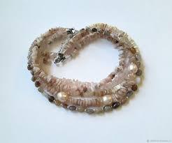 <b>Necklace</b> with <b>pearls</b>, <b>rose</b> opal and quartz – купить на Ярмарке ...