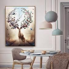 2019 <b>Nordic Elk</b> Decorative Painting Living Room Home Wall ...