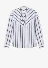 <b>Long Sleeve</b> Bold <b>Striped V</b>-<b>Neck</b> Shirt- Derek Lam