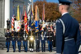 u s department of defense photo essay a joint color guard posts the colors during a veterans day ceremony at the tomb of the unknowns at arlington national cemetery in arlington va nov