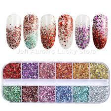 12 Colors <b>Galaxy Holographic</b> Nail <b>Glitter Laser Holo</b> Nail Sequins ...