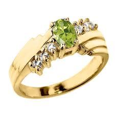 <b>Dazzling Yellow Gold</b> Diamond and Peridot Ladies Ring