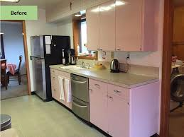 st charles kitchen cabinets: christine gives her pink  lyon kitchen some retro tlc including retro renovationar by wilsonart first lady pink laminate