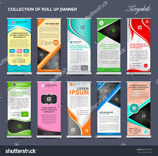 collection roll banner template stand layout stock vector collection of roll up banner template stand layout display advertisement vector flyers poster