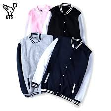 <b>BTS</b> 2017 <b>Winter</b> Baseball <b>Jacket</b> Men Sweatshirt College ...