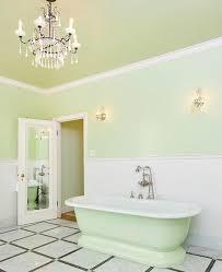 green bathroom screen shot: light mint green bathroom with chandelier