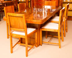 oval dining table art deco: antique art deco walnut dining table amp  chairs c