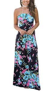 Kbook <b>Women's</b> Summer <b>Strapless</b> Floral Party <b>Dress</b> Vintage ...