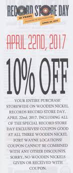 wooden nickel home 2017 wooden nickel records 10th annual record store day 10% off storewide coupon