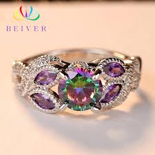 <b>Beiver 2019 New</b> Arrival White Gold Color Rainbow Round Zircon ...