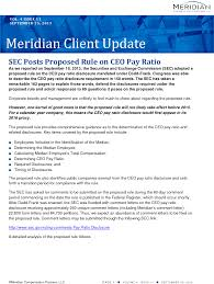 sec posts proposed rule on ceo pay ratio meridian compensation key topics