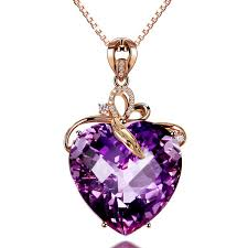 2019 <b>Korean Version 14K</b> Rose Gold Amethyst Pendant Female ...