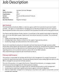 assistant contract manager job description example contract manager job description