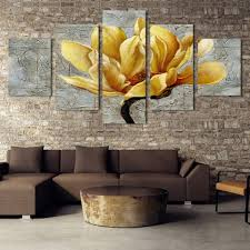 <b>Modern Golden flowers painting</b> 5 piece large canvas print wall art ...