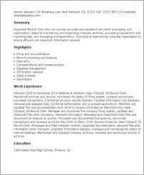professional records clerk templates to showcase your talent    resume templates  records clerk