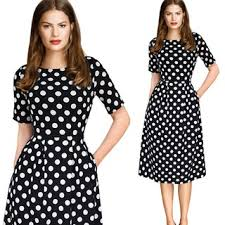 Elegant <b>Womens Polka Dot</b> Belted Work Office Casual Party A Line ...