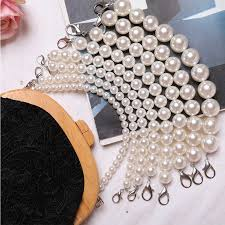<b>Luxury</b> Design 40cm <b>Handmade Beaded</b> Acrylic <b>Bags</b> Strap <b>Pearl</b> ...