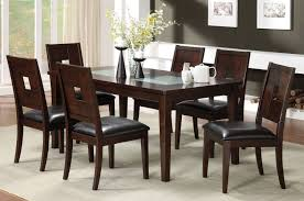 wood extendable dining table walnut modern tables:  moderndiningtableindarkwalnutcolorwithcrackedglassandchairsindiningroom
