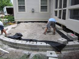 stone patio installation: paving stones offer a variety of colors shapes and textures that will complement any home structure or yard after careful selection of products and