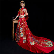 Red <b>Traditional Chinese</b> Wedding <b>Gown 2019</b> Ladies New Fashion ...