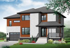 Modern House Plans  Contemporary Home Plans from    Enclave Large bedroom Modern Home   two family room upstairs   W  V