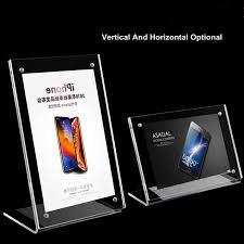 A5 Clear Acrylic Magnetic Photo Block Desktop <b>Card Display</b> Stand ...