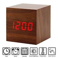 Amazon.com: <b>Perfeo</b> Wooden Alarm Clock, LED Cube Digital Alarm ...