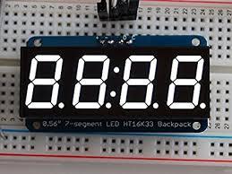 """Adafruit <b>0.56</b>"""" <b>4</b>-<b>Digit 7</b>-<b>Segment</b> Display w/I2C Backpack - White ..."""