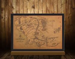 Vintage Middle Earth Map The Lord of The Rings Poster Home ...