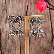<b>TopHanqi Indian Jhumka</b> Gypsy <b>Jewelry</b> Sliver Boho Vintage Ethnic ...