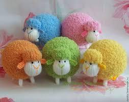"""Купить """"Разноцветные овечки"""" вязаные игрушки - вязаная ..."""