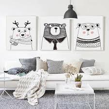 07G Nordic <b>Black</b> And <b>White Cartoon Animal</b> Rabbit Deer Bear A4 ...