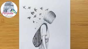 Creative <b>Drawing</b> - <b>Pencil</b> sketch || How to draw a girl with School ...