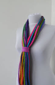 Knit Scarf Necklace, Loop scarf, Infinity scarf, Knitted scarflette ...