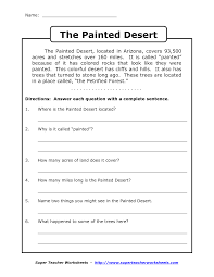 reading worksheets for th grade reading comprehension reading worksheets for 4th grade reading comprehension worksheets grade 3 the painted desert