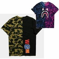 Mens <b>Bape</b> T Shirt Camo <b>Shark</b> A <b>Bathing Ape</b> Tee Shirt Cotton T ...