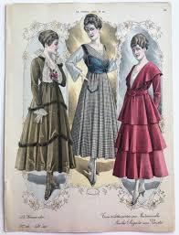 Hand <b>Colored Fashion</b> Plate Print from <b>Antique</b> French <b>Fashion</b> ...