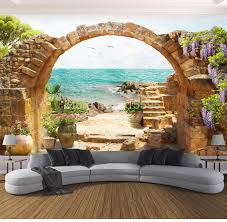 <b>Custom</b> Wall Mural Wallpaper Garden Stone Arches <b>Sea View 3D</b> ...