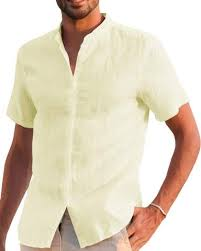 Makkrom <b>Mens</b> Long Sleeve Shirts <b>Linen Cotton</b> Button Up Loose ...