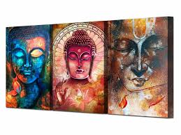 <b>Printed Abstract</b> Buddha Wall Art 3 Piece Canvas Living Room ...