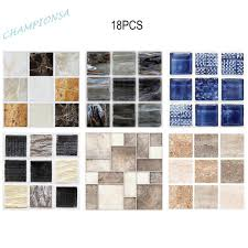 #cp-ph#<b>18pcs</b> Waterproof Kitchen Tile Stickers Polish Marbling ...
